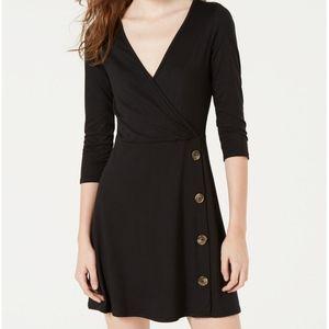 Ultra Flirt Faux Wrap Black Dress, M